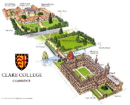 Map of Clare College, click to enlarge